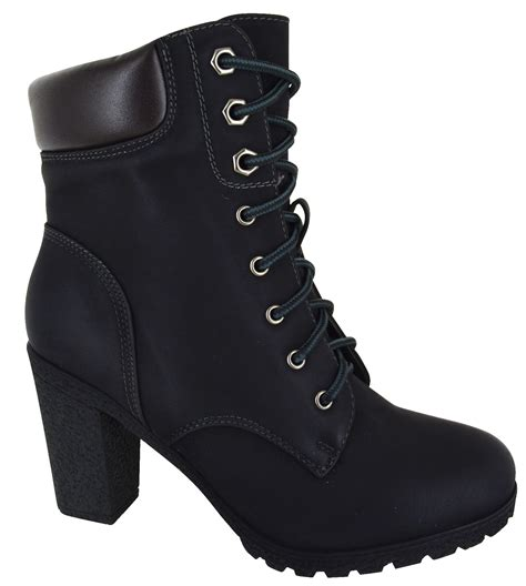 high heeled army boots womens combat army chunky high heel biker
