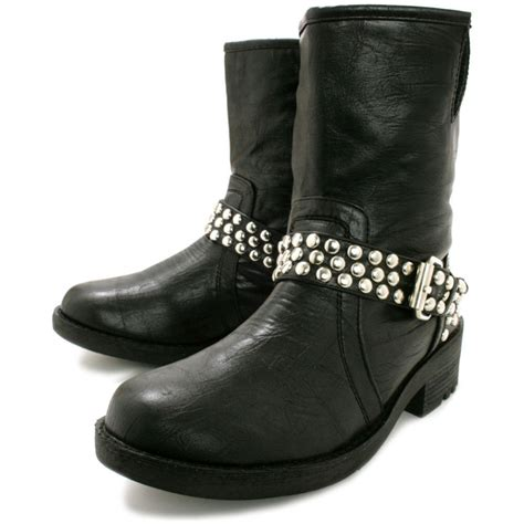 buy gorgeous flat studded biker ankle boots black
