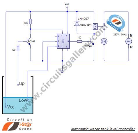 water tank level controller circuit diagram automatic water tank level controller motor driver circuit
