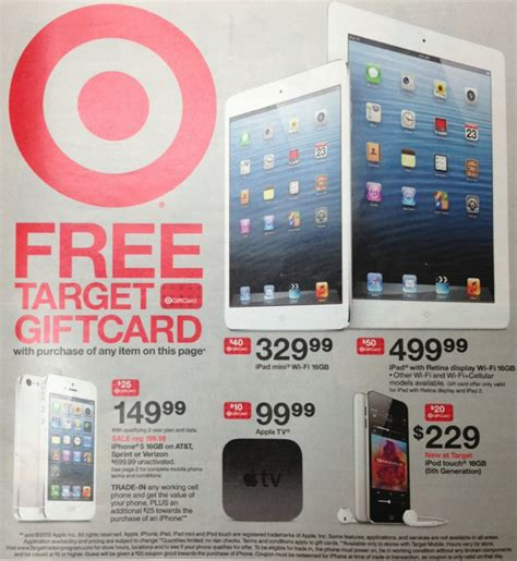 target offers gift card with iphone ipad ipad mini purchase - Target Ipad Mini Gift Card Deal