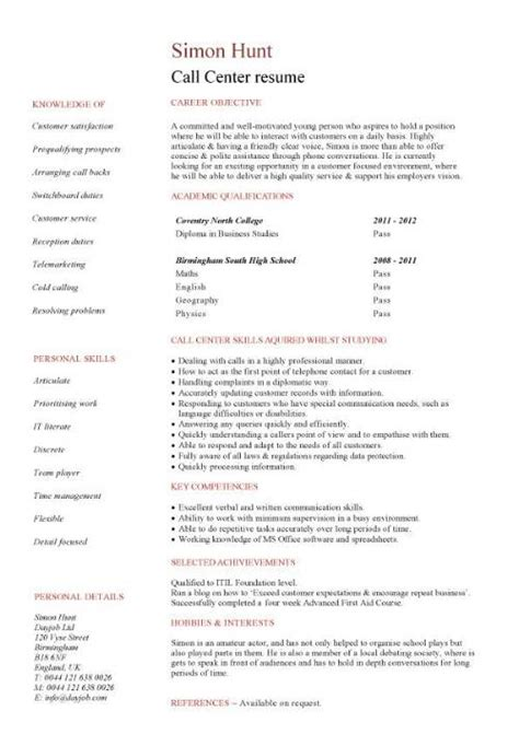 Resume For Call Center call centre cv sle high energy resilience and