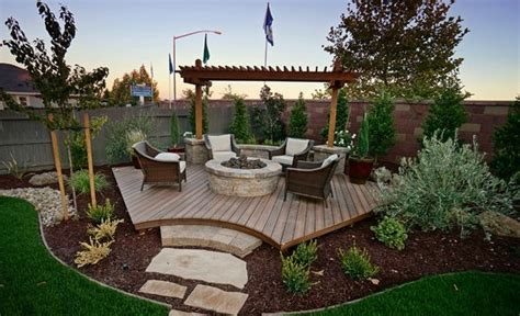 landscaping ideas for backyard corner backyard corner deck with fire pit and landscaping