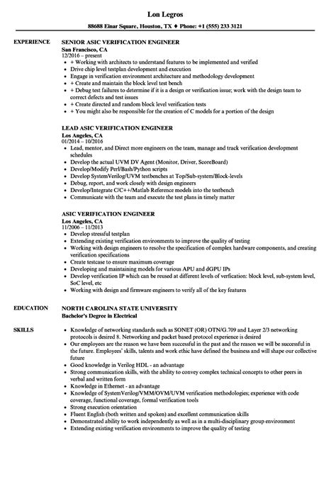 Asic Verification Engineer Cover Letter by Verification Engineer Sle Resume Creating Vouchers Wedding Guest List Template Free