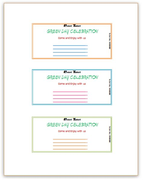 word ticket template microsoft word event ticket template