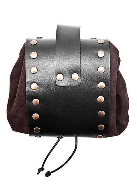 riveted leather belt pouch brown
