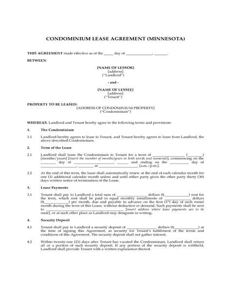 printable lease agreement mn condominium lease agreement minnesota edit fill sign