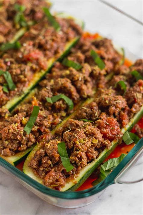 italian stuffed zucchini boats with ground beef tomatoes mozzarella italian stuffed zucchini ground beef