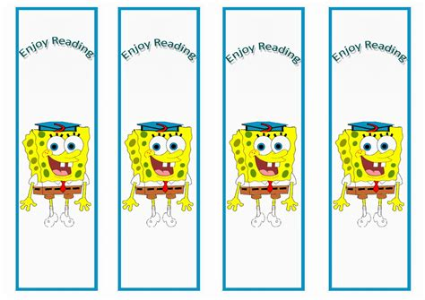 spongebob bookmarks birthday printable