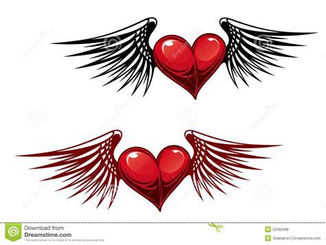 tattoo cuore con le ali cuore dell annata con le ali fotografie stock libere da