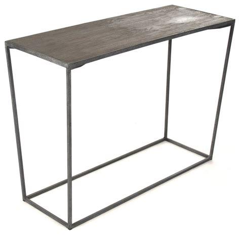 Bleecker Modern Rustic Industrial Grey Steel Reclaimed Oak Grey Sofa Table
