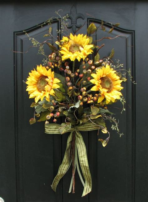 Sunflower Bouquet Front Door Decor Summer Wreath Wild Summer Front Door Decor
