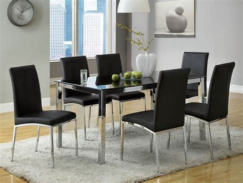 Glass Top Dining Table For 6 7pc Modern Black Chrome Glass Top Dining Table Set 6 Chairs