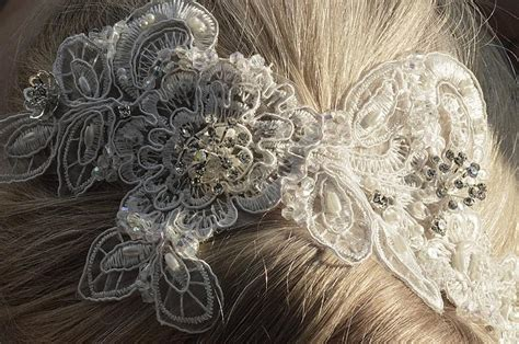 Handmade Bridal Hair Accessories - bridal lace hair accessory handmade bridal lace hair