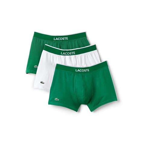 Tas Lacoste Premium Pack lacoste colours collection 3 pack cotton stretch boxer trunks green white utility