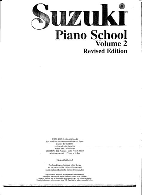How Many Suzuki Piano Books Are There Metodo Suzuki Piano Volume 2