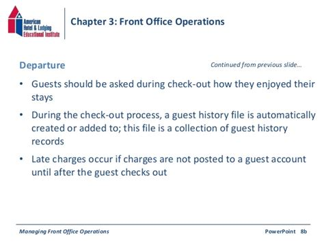 Check In Procedure In Front Desk by Chapter 3 Front Office Operations