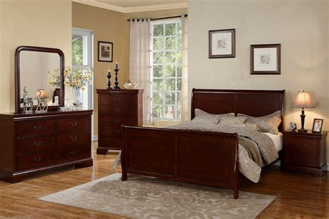 traditional style cherry wood beds dresser queen king bedroom furniture  pc set ebay