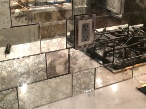 antique mirror tile backsplash transitional tile