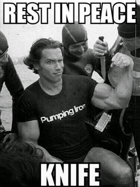 arnold meme arnold killing knife with muscles