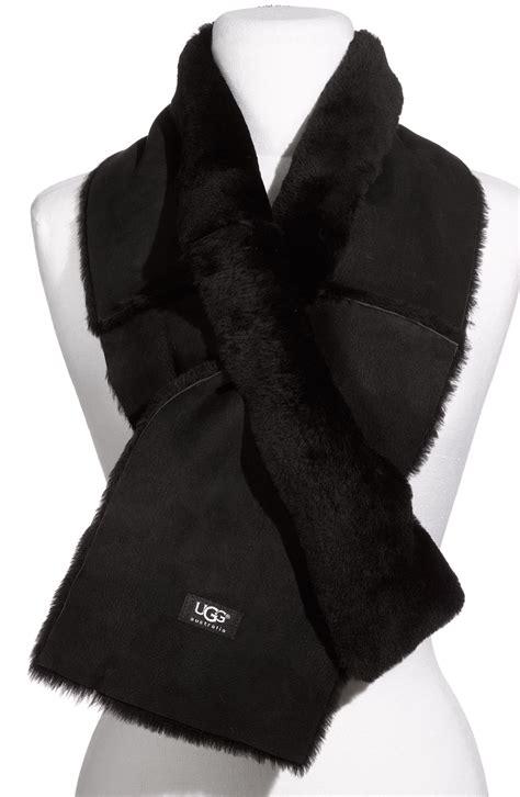 ugg shearling scarf in black lyst