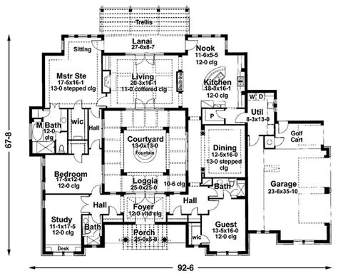 Courtyard Style House Plans Mediterranean Courtyard House Plans Grundplaner 1plan