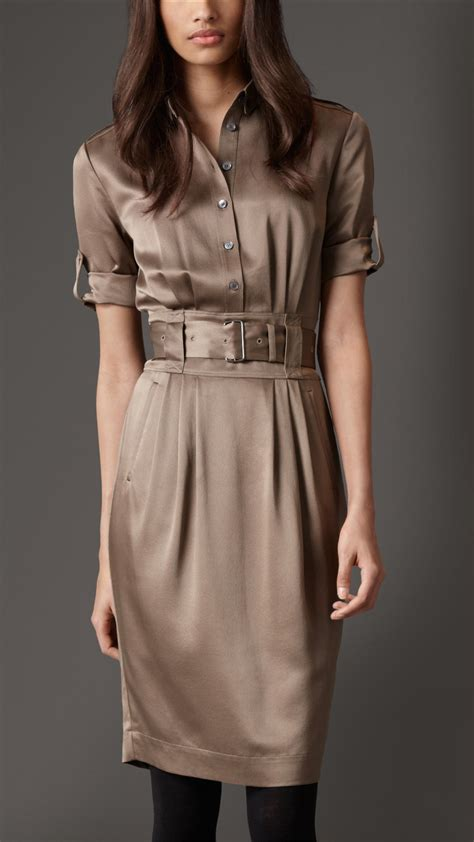 burberry silk belted shirt dress in brown lyst