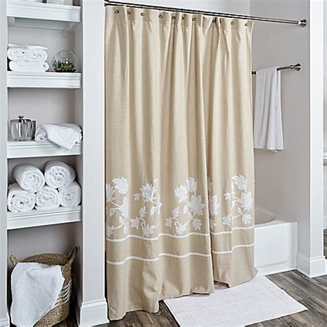White And Beige Curtains Buy Rizzy Home Floral Shower Curtain In Beige White From Bed Bath Beyond