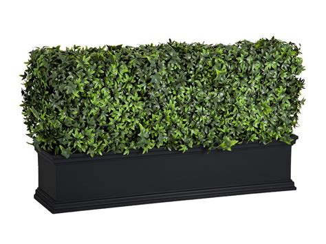artificial uv rated outdoor english ivy hedge black planter