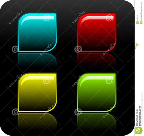 button background color shiny color button set on black background stock photo