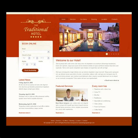 hotel and restaurant website templates psd for your hotel