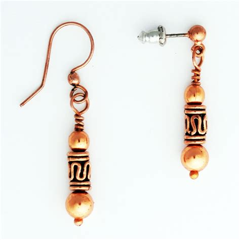 copper earrings with handmade copper drop pipeline