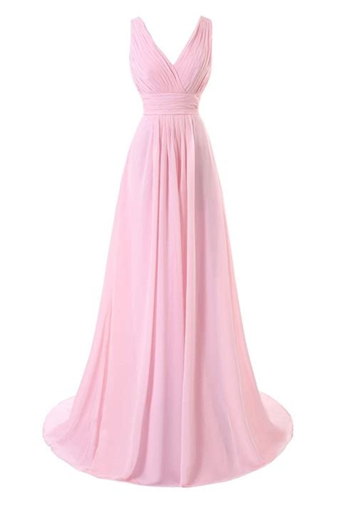 V Neck Dress Pink v neck pink chiffon bridesmaid dresses pleat