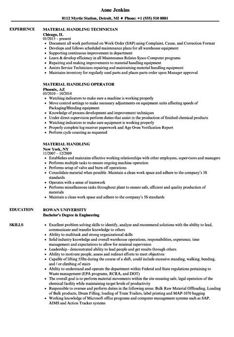 Handling Resume by Material Handling Resume Sles Velvet