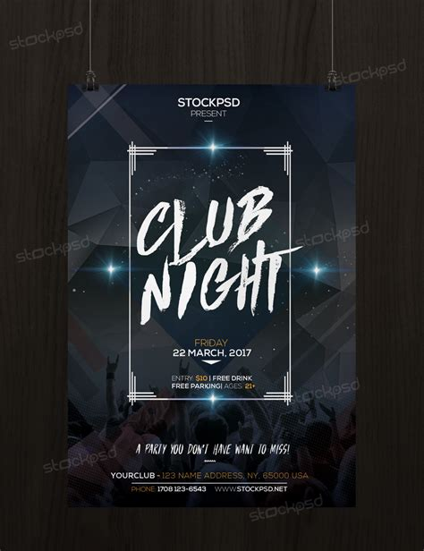 poster template psd club free psd flyer template stockpsd net