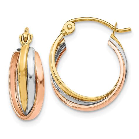 color hoop 14k tri color gold polished hinged hoop earrings 0 6in