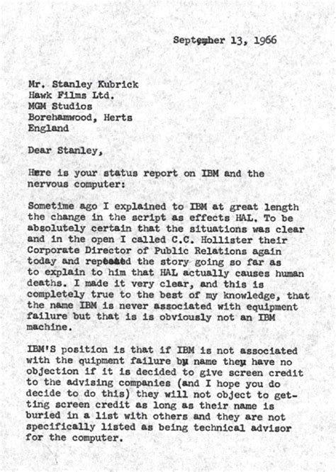 Ibm Cover Letter Address The Letter Stanley Kubrick Wrote About Ibm And Hal The Atlantic