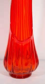 modernist sculptural blown glass floor vase in vermillion