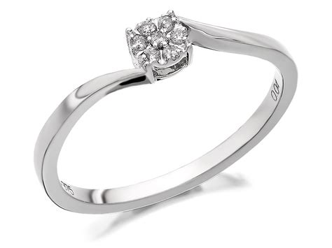 9ct white gold twist cluster ring 4pts d6843