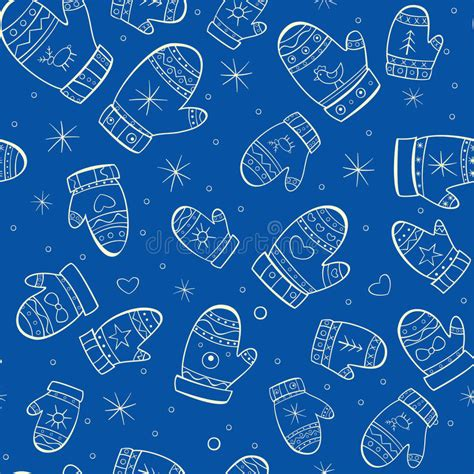 seamless mitten pattern winter seamless pattern with mittens on blue backg stock