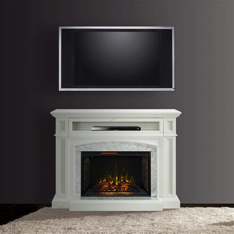 Drew Infrared Electric Fireplace Tv Stand In White Cs White Fireplace Tv Stand