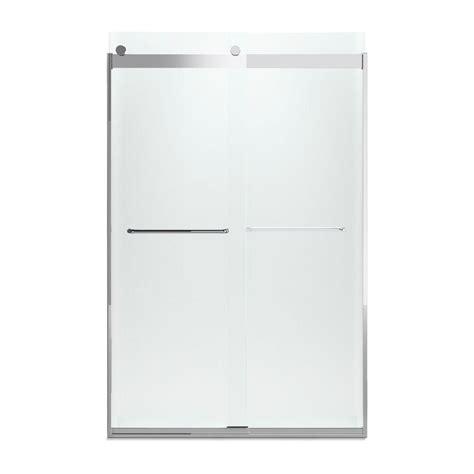 Kohler Levity Sliding Shower Door Kohler Levity 47 5 8 In X 74 In Semi Frameless Sliding Shower Door In Bright Silver With Towel