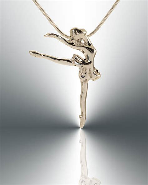 Ballerina Pendant Necklace ballerina in tutu on pointe silver necklace m
