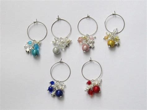 Handmade Wine Glass Charms - handmade miracle bead wine glass charms felt
