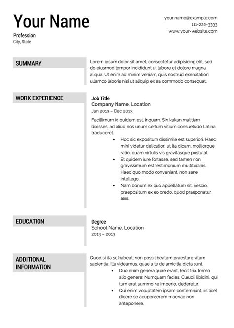 templates for resumes free free resume templates