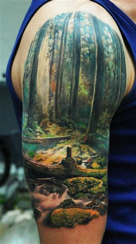 forest scene tattoo forest arm design tattooshunt