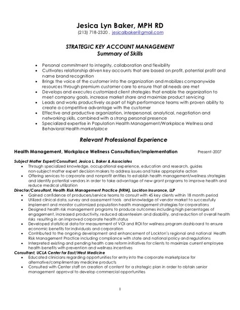 Resume Objective Key Account Manager Strategic Key Account Management Resume 4 7 2011