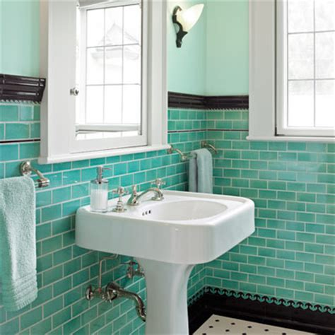 finishing touches contrasting base and cap all about - Colored Subway Tile Bathroom