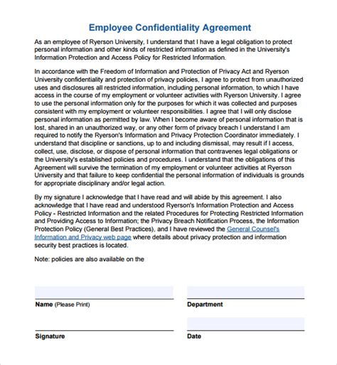 Secrecy Agreement Template by Employee Confidentiality Agreement Template Free