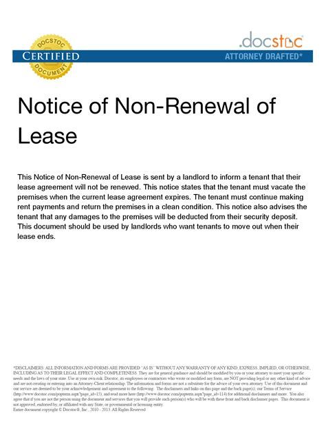 lease non renewal letter sample bagnas letter of not renewing