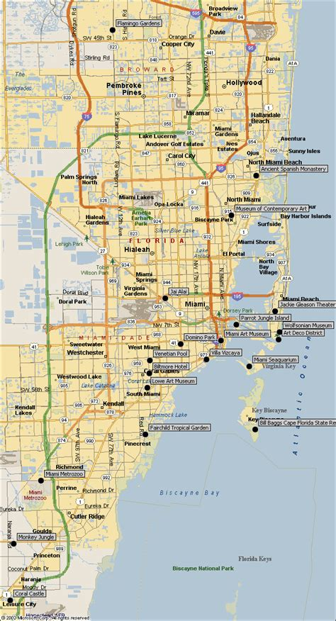miami map map of miami attractions directions to miami sightseeing landmarks museums parks of south
